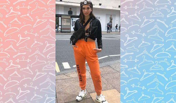 c5a8d3bb2ab2e A Dua Lipa também adora um swag. A cantora deu um toque a mais escolhendo  uma calça de cor bem forte - Foto  Reprodução Pinterest