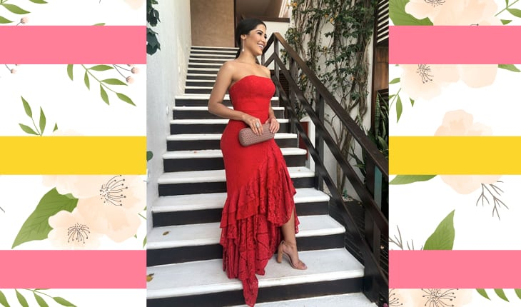 Thaynara OG com um vestido vermelho