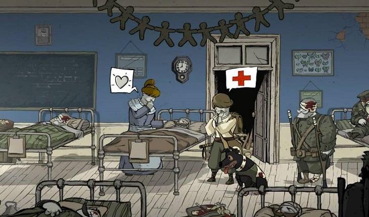 Enfermaria de um campo de batalha, onde uma enfermeira está olhando um paciente