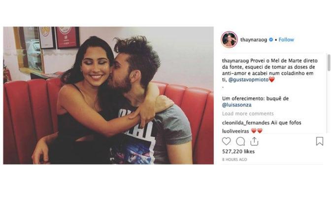 Thaynara OG e Gustavo Mioto estão namorando