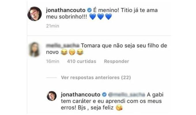 Comentário de Instagram do Jonathan Couto