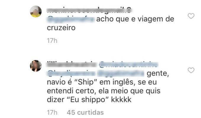 Comentário de Instagram