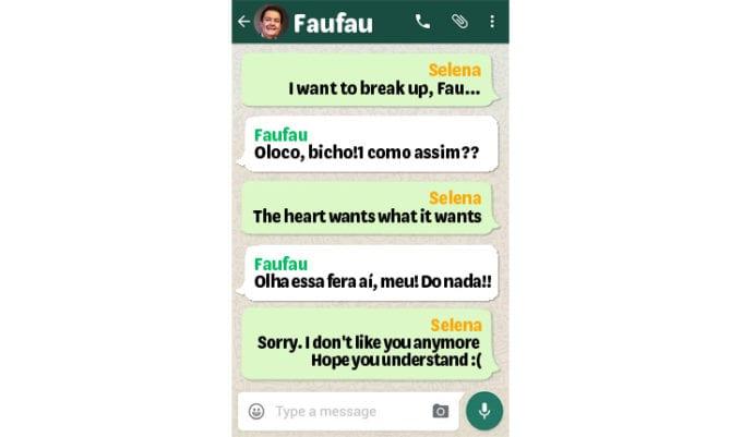 Conversa de whatsapp selena e faustão