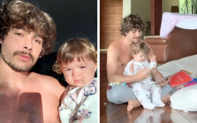 """Clara Maria pede por leituras em vídeo fofo com Rafa Vitti: """"Quem mais tem mini leitores em casa?"""""""