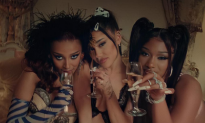 "Com muito poder e sensualidade, Ariana Grande, Doja Cat e Megan Thee Stallion arrasam no clipe do remix de ""34+35"""