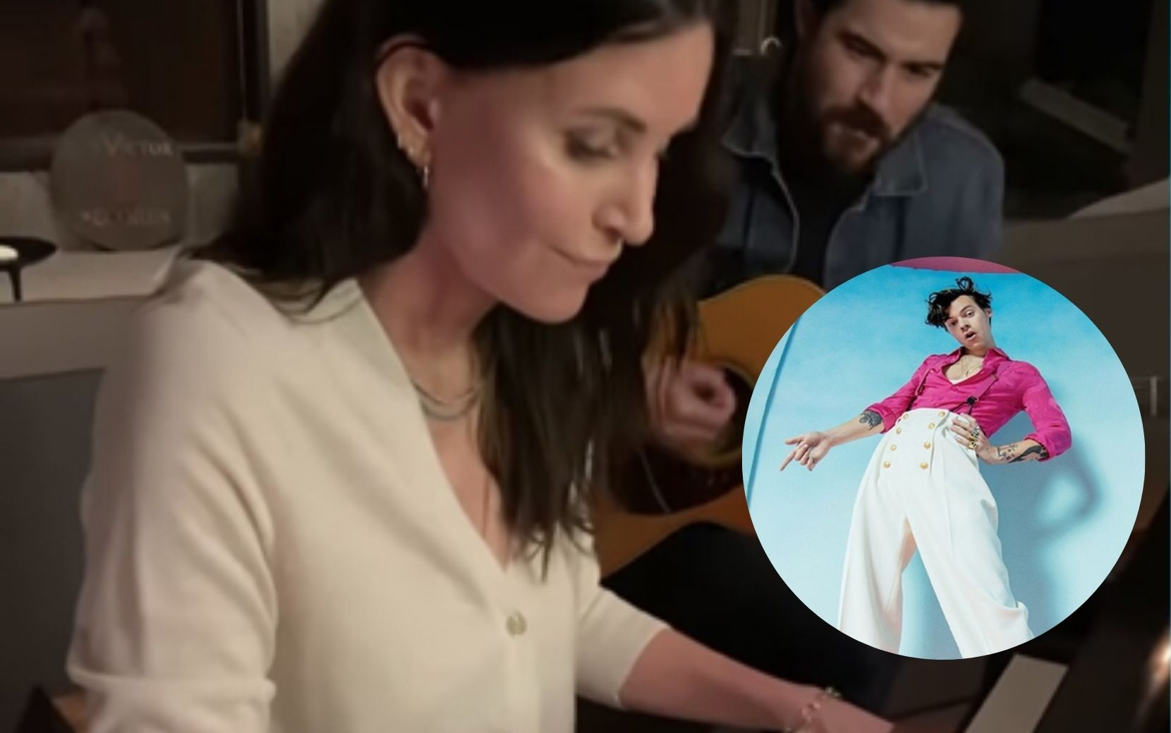 "Courtney Cox, de ""Friends"", aparece fazendo cover de ""Falling"", hit de Harry Styles - vem ver!"
