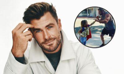 """Chris Hemsworth aparece em vídeo fofo com filho nos bastidores de """"Thor 4"""""""