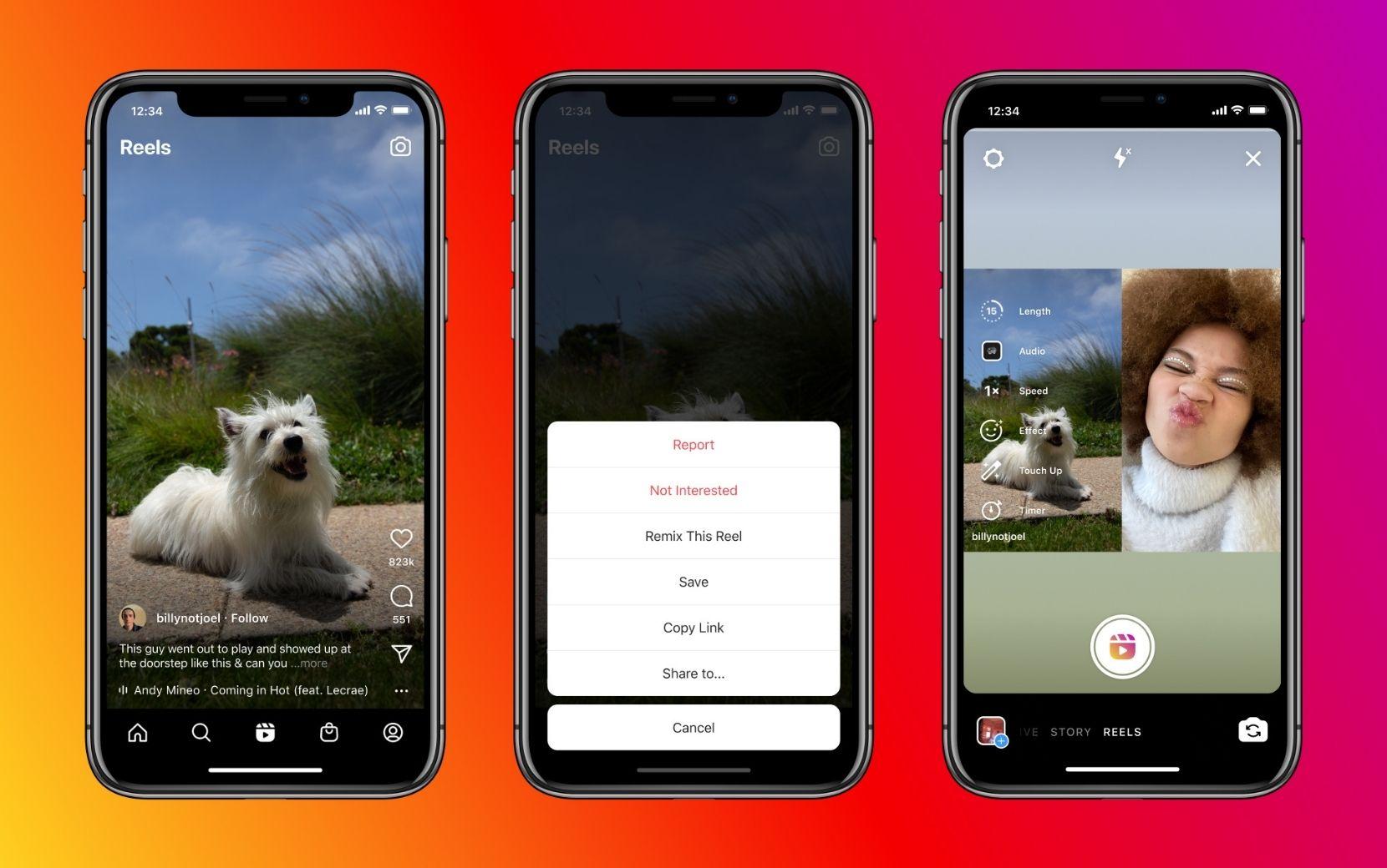 Novidade! Instagram agora tem função Remix, que permite gravar em cima de outros Reels