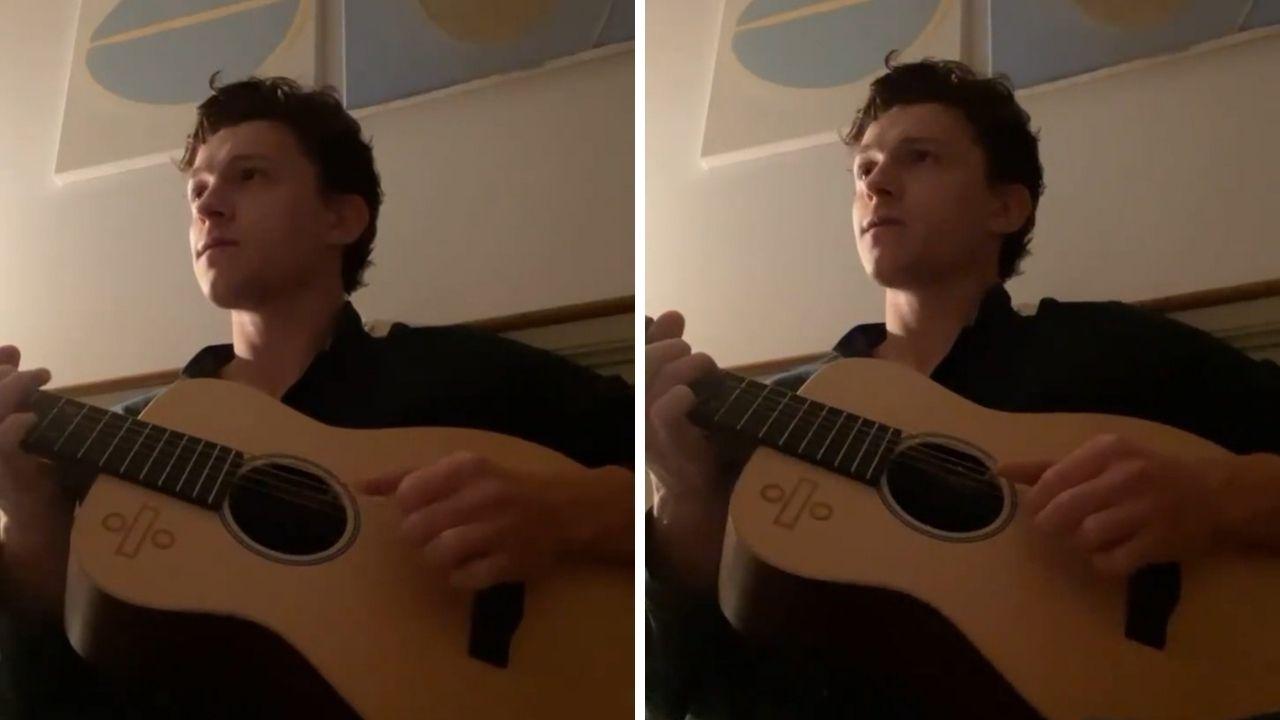 Tom Holland publica vídeo aprendendo a tocar violão e fãs vão à loucura