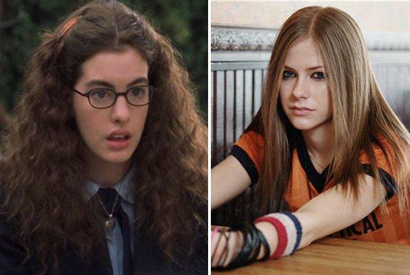 """Anne Hathaway em """"Diário da Princesa"""" e Avril Lavigne"""